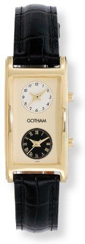 Gotham Men's Gold-Tone Dual Time Zone Leather Strap Watch # GWC15077B Gotham. $49.95. Perfect timepiece for business travelers and flight attendants. Gold-tone highly polished contoured rectangular case with mineral crystal plus genuine leather strap. Elegant and stylish timepiece that keeps track of 2 time zones on one watch. Two precision Japanese quartz movements plus scratch resistant mineral crystal. Arrives with deluxe draw string pouch and gift box, operating ...