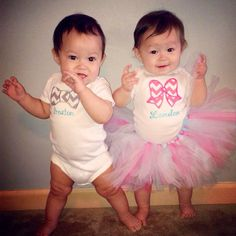 Twinsy Boy Girl Twins First Birthday onesie Bow Bowtie personalized Custom on Etsy, $35.00