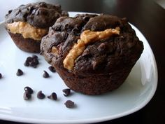 Chocolate Banana Peanut Butter Muffins | Alida's Kitchen