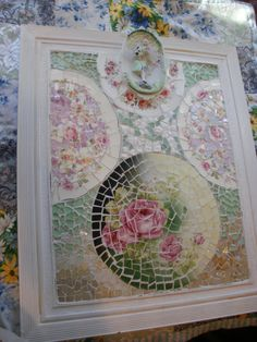 LARGE shabby chic cottage broken china wall art