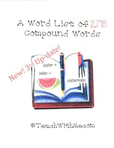 Classroom Freebies: 2,717 Compound Words
