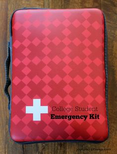 A First-Aid Kit for the college bound or traveler with a printable of medications and their uses.