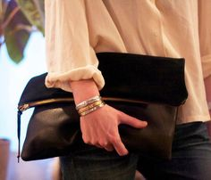 Suede Leather Clutch - love the combo