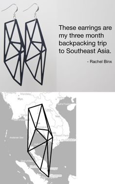 """""""Meshu, custom-made, 3D-printed or laser-cut earrings, necklaces, or cufflinks, based on locations on a map. Personal and edgy."""""""