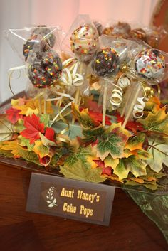 Cute Thanksgiving cake pops. See more party ideas at CatchMyParty.com #fallpartyideas