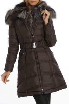 Silver Craft Fox Collar Cathy Puffer Coat