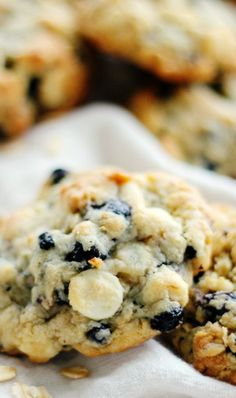 White Chocolate Chip & Blueberry Oatmeal Cookies More