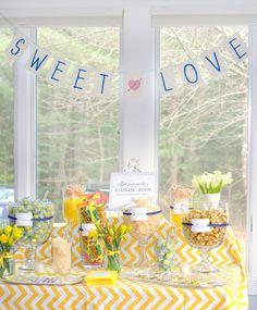 shower themes, weddings, bridal shower ideas, dessert tabl, candi bar, banner, chevron stripes, parti, bridal showers