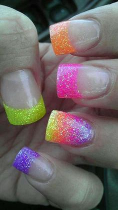 Easy!All You need is glitter and a top cat,Put the top coat on each nail you need to get a ear waxing tip and dip the top in the glitter spread how you want,Then Put The Glitter were you please,Then add another top coat for pertection!