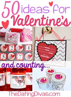 50 Valentine dates, crafts, printables, and MORE.  Plus more ideas added all the time!!  www.TheDatingDivas.com #valentine #vday #DIY