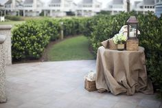 Burlap for those (ugly) tables at the reception