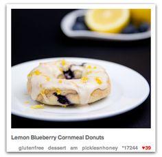 Cheery late summer treat.. Lemon Blueberry Cornmeal Donuts - gluten free + vegan. by PicklesNHoney