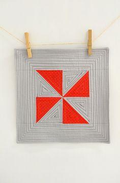 Red Pinwheel Mini quilt  red and grey mug rug  mat  por 464Handmade, $20.00