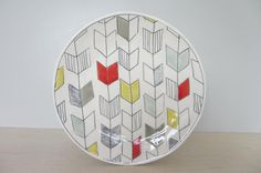 Ceramic Arrow Tail Salad Plate with Bold Tones  Made by ebenotti, $54.00