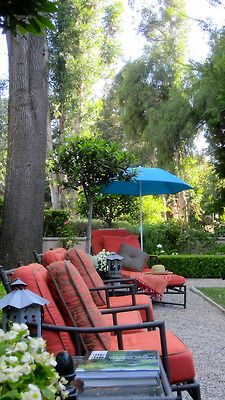 """Color Pop"" for Outdoors. Joe Ruggiero Sunbrella fabric Trax/Persimmon."