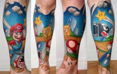 tattoo ideas, super mario brothers, sleeve tattoos, mario tattoo, leg tattoos, video games, super mario bros, bright colors, ink