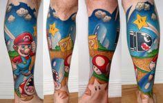 beautiful leg mario tattoo tattoo ideas, super mario brothers, sleeve tattoos, mario tattoo, leg tattoos, video games, super mario bros, bright colors, ink