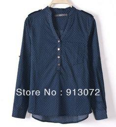 Sexy decote em V padrão ponto azul blusas ST791 senhoras nova moda 'OL cobre camisas manga longa camisas casual de grife marca fino