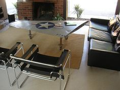 repurposed airplane parts into coffee table