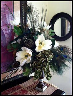 Magnolia Peacock Centerpiece - Christmas Centerpiece - Christmas Arrangement - Wedding Arrangements