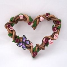 This wreath was made entirely out of clay.  Find out how simple it is to make one with your own colors and ideas.