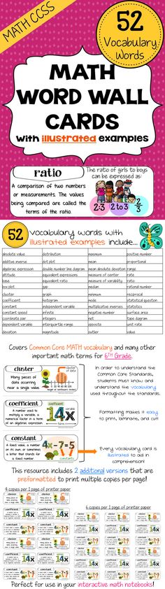 Common Core Standards MATH Vocabulary Word Wall Cards (6th Grade) - How can students learn the Math Common Core Standards if they don't know what the vocabulary used in the standards means? Use our word wall cards to help bridge that knowledge gap! $