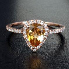 Citrine and Diamonds 14k Rose Gold Engagement or Wedding Ring. $599.00, via Etsy. 14K Rose, Citrine Engagement Ring, Diamond 14K, Dream, Diamonds, Roses, Champagn Halo, Beauti Thing, Rose Gold