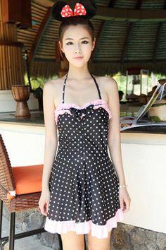 Polka Dot Halter Swimsuit Dress - OASAP.com