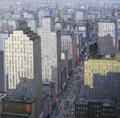 """MARK HORTON, DOWNTOWN, Oil on Linen, 56 x 58"""""""