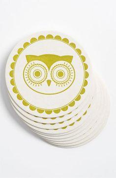'Vintage Owl' Letterpress Coasters