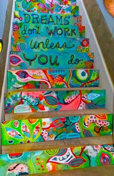 basement stairs, stairway, color, dream, art, future house, mural, quot, painted stairs
