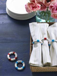 Diy Playful Lifesaver Napkin Rings Turn curtain rings into entertaining lifesavers.