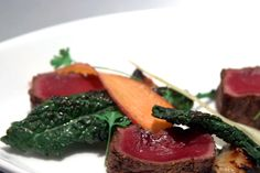 Josh Valentine's Venison with Coriander, Brown Sugar & Black Pepper Cure, Kale & Shaved Carrot, LCK