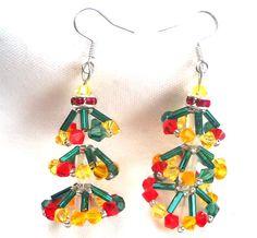 Christmas Tree Earrings Swarovski Crystals by SmileykitCreations, $19.00