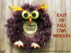 Easy DIY Fall Owl Wreath made from Fall floral and crafts!