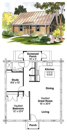 Log Home Plan 69498 | Total Living Area: 960 sq. ft., 1 bedroom & 1 bathroom. #loghouse #houseplan