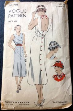 Vogue 7358 1930s  Sun dress and Visor Cap Pattern Easy  womens vintage sewing pattern by mbchills vintage sewing patterns, vintag pattern, pattern easi, sundress, vogue patterns, visor cap, sew pattern, womens retro dresses