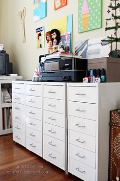 Many uses of the IKEA Helmer drawers on castors.