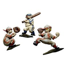Set of 3 Vintage Iron Baseball Figures - $225