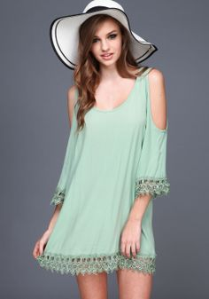 Green Coldshoulder Crochet Dress - Love Culture