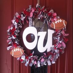OU SOONERS fabric wreath :-)