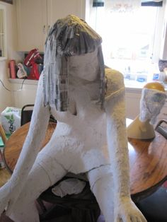 Figure Sculpture After  Covering With Paper Mache Clay