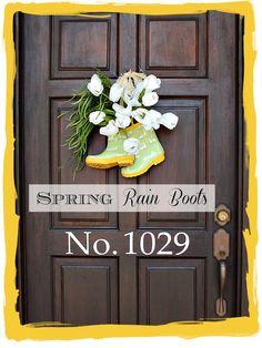 rain boots diy, the doors, crafti, door colors, spring door, front doors, door decor, spring wreaths, wood doors
