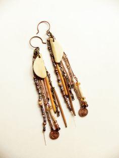 Sun regalia  Autumn tribal porcupine quill earrings by FlotsamTide,
