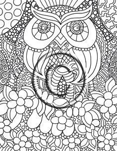 "Digital Download Coloring Page Hand Drawn Zentangle Inspired ""Owl Love"" Abstract Zendoodle Doodle Hippie By Kat. $2.20, via Etsy."