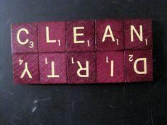 Scrabble Tile Clean Dirty Dishwasher Magnet