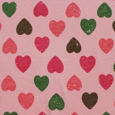 Vintage Heart Rows on Rose Pink Cotton Jersey Knit Fabric