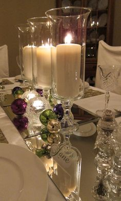 mirror, christmas centerpieces, christmas tables, candle holders, candles, holiday tabl, table runners, new years, christmas table settings