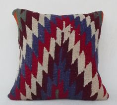 Decorative Kilim Pillow Cover Handwoven Navy Blue by Sheepsroad, $65.00