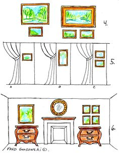 """hanging groupings of pictures; """"I love the way he talks about visual weight and natural lines """""""